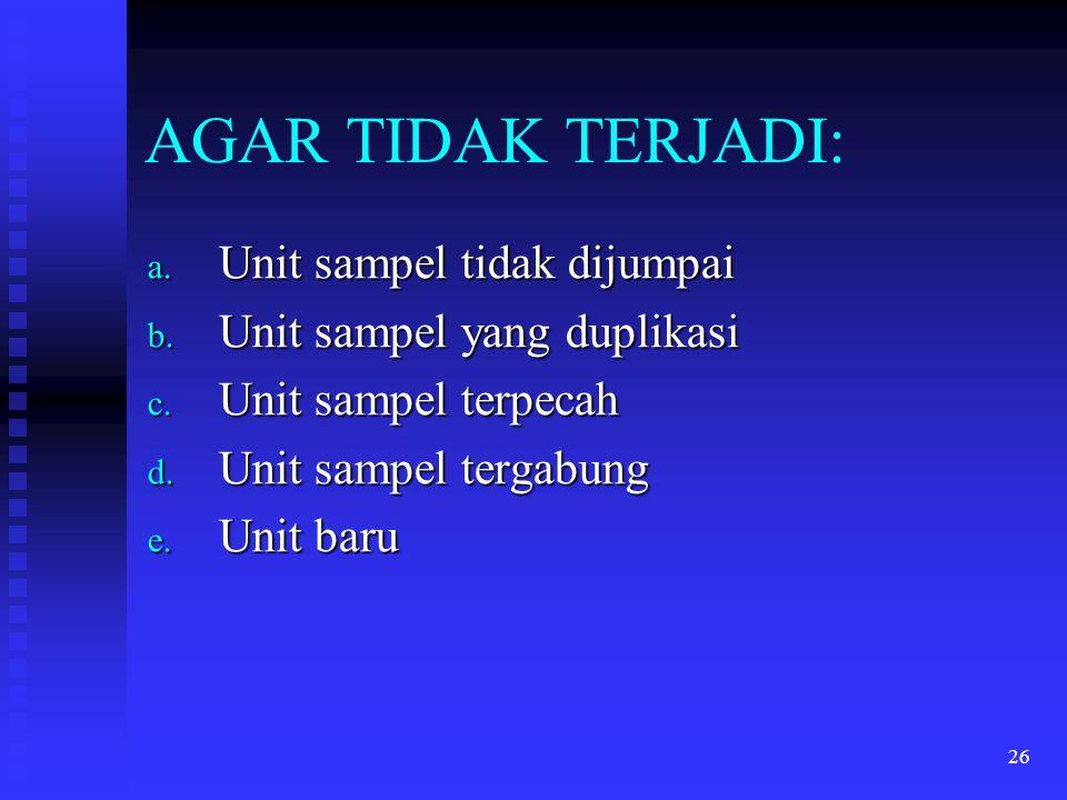26 AGAR TIDAK TERJADI: a. Unit sampel tidak dijumpai b. Unit sampel yang duplikasi c. Unit sampel terpecah d. Unit sampel tergabung e. Unit baru
