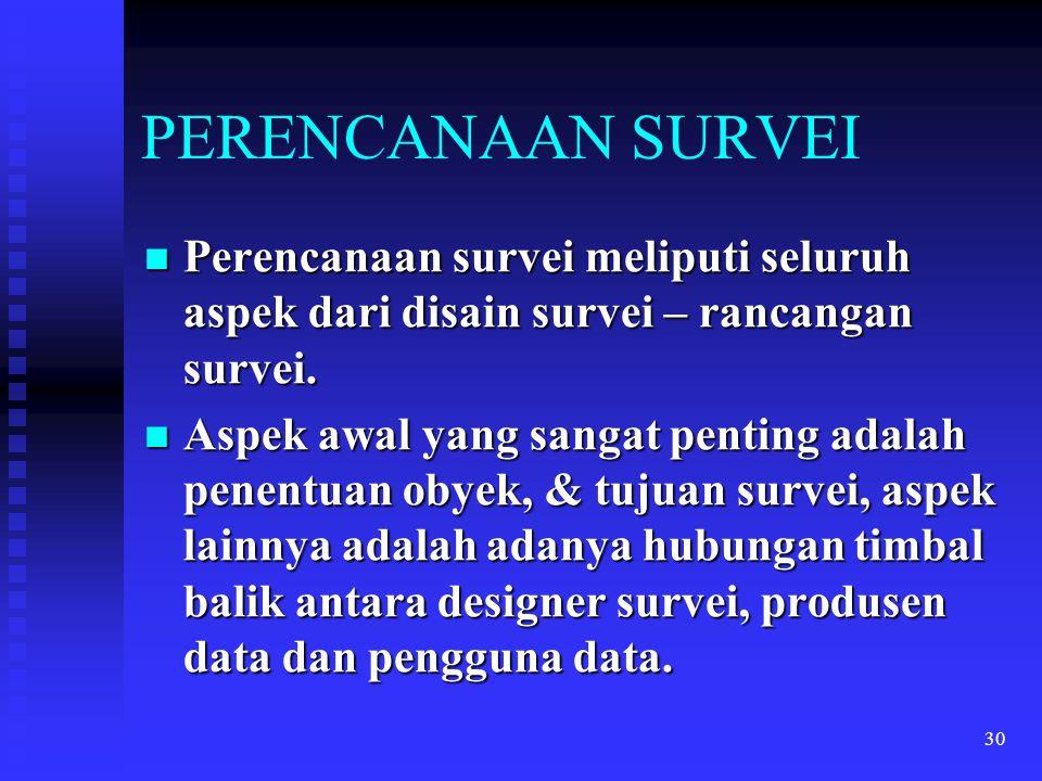 30 PERENCANAAN SURVEI Perencanaan survei meliputi seluruh aspek dari disain survei – rancangan survei. Perencanaan survei meliputi seluruh aspek dari