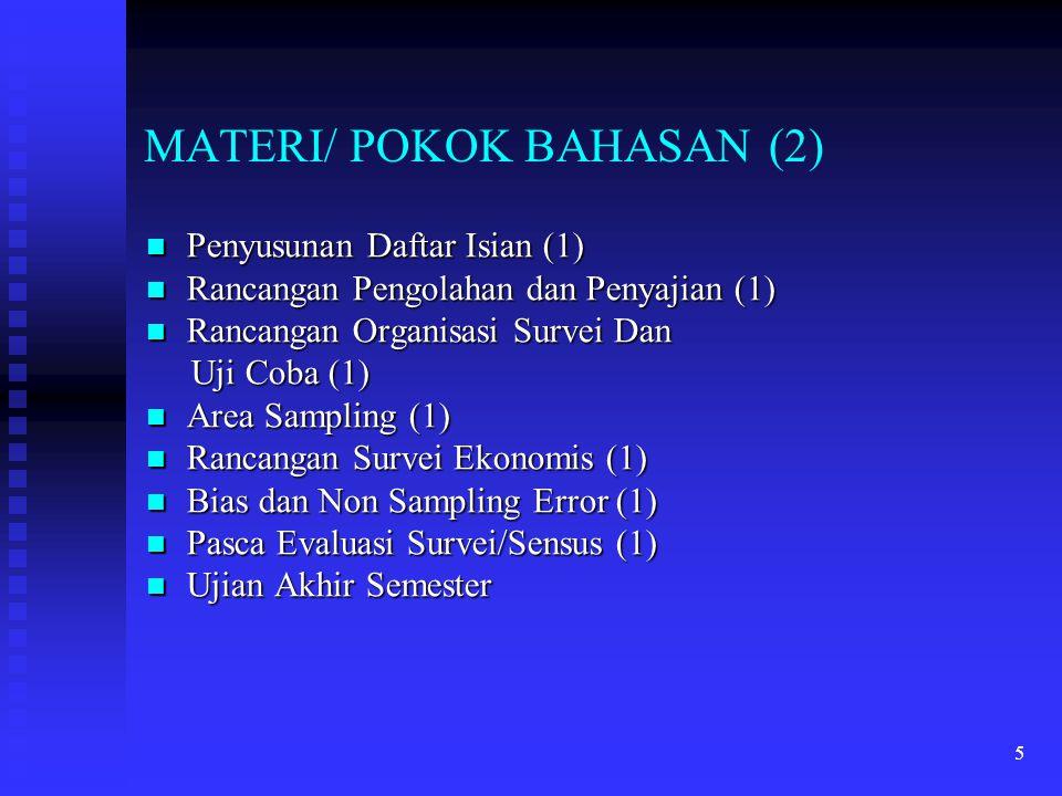 5 MATERI/ POKOK BAHASAN (2) Penyusunan Daftar Isian (1) Penyusunan Daftar Isian (1) Rancangan Pengolahan dan Penyajian (1) Rancangan Pengolahan dan Pe