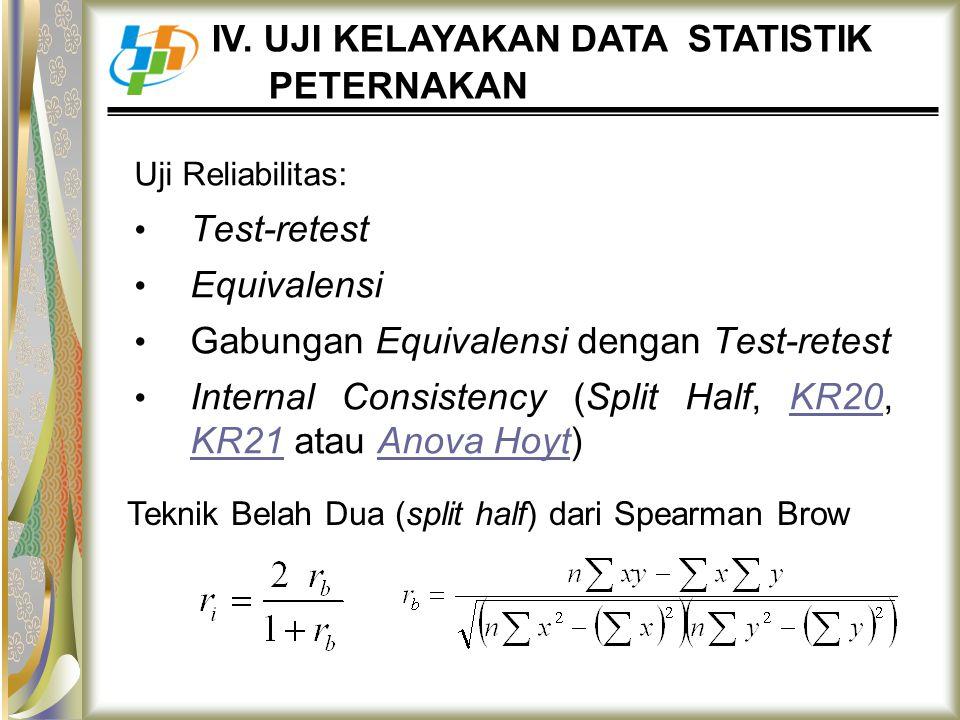 Uji Reliabilitas: Test-retest Equivalensi Gabungan Equivalensi dengan Test-retest Internal Consistency (Split Half, KR20, KR21 atau Anova Hoyt)KR20 KR