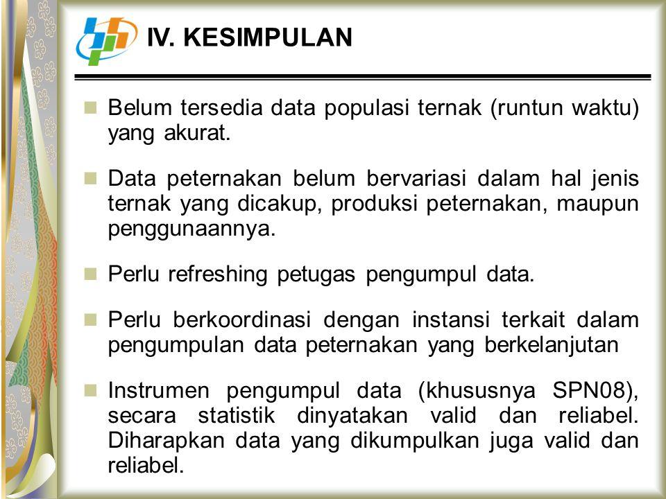 Belum tersedia data populasi ternak (runtun waktu) yang akurat. Data peternakan belum bervariasi dalam hal jenis ternak yang dicakup, produksi peterna
