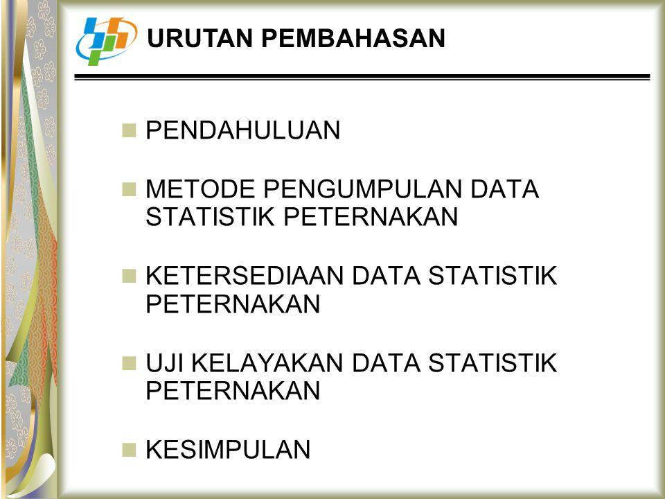 PENDAHULUAN METODE PENGUMPULAN DATA STATISTIK PETERNAKAN KETERSEDIAAN DATA STATISTIK PETERNAKAN UJI KELAYAKAN DATA STATISTIK PETERNAKAN KESIMPULAN URU
