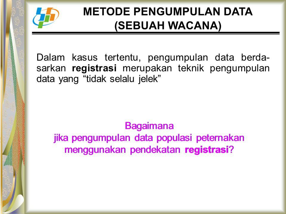 """METODE PENGUMPULAN DATA (SEBUAH WACANA) Dalam kasus tertentu, pengumpulan data berda- sarkan registrasi merupakan teknik pengumpulan data yang """"tidak"""