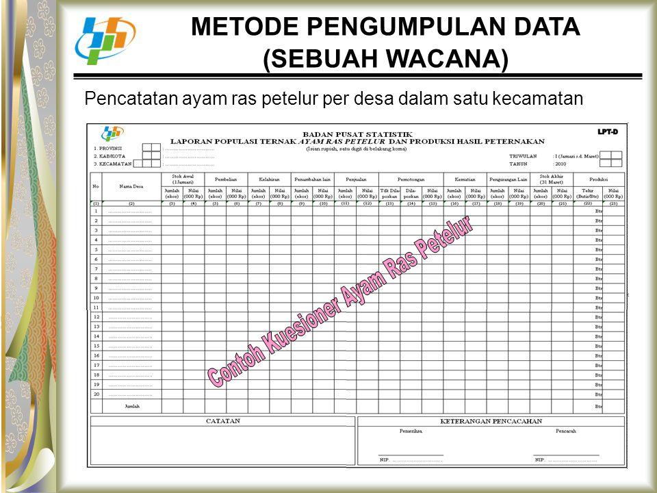 Pencatatan ayam ras petelur per desa dalam satu kecamatan METODE PENGUMPULAN DATA (SEBUAH WACANA)