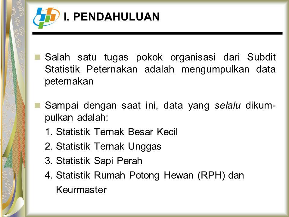 Salah satu tugas pokok organisasi dari Subdit Statistik Peternakan adalah mengumpulkan data peternakan Sampai dengan saat ini, data yang selalu dikum-