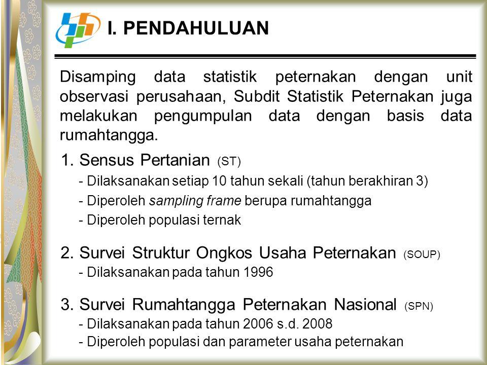 Disamping data statistik peternakan dengan unit observasi perusahaan, Subdit Statistik Peternakan juga melakukan pengumpulan data dengan basis data ru