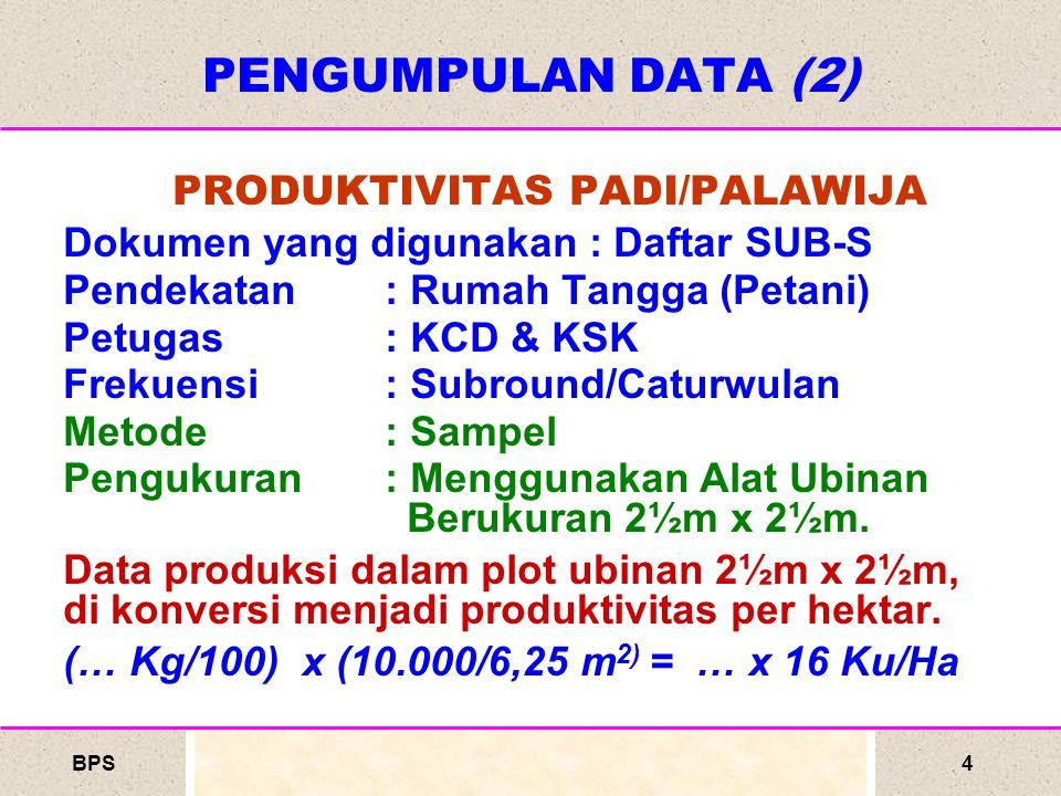 BPS4 PRODUKTIVITAS PADI/PALAWIJA Dokumen yang digunakan : Daftar SUB-S Pendekatan : Rumah Tangga (Petani) Petugas : KCD & KSK Frekuensi: Subround/Caturwulan Metode : Sampel Pengukuran: Menggunakan Alat Ubinan Berukuran 2½m x 2½m.