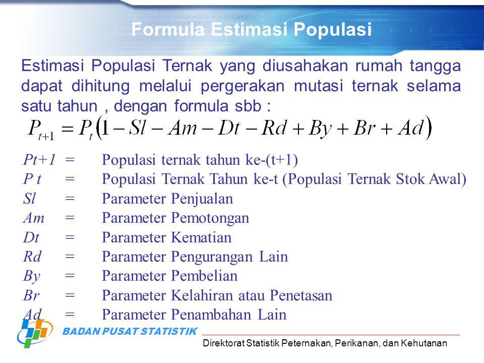 Direktorat Statistik Peternakan, Perikanan, dan Kehutanan BADAN PUSAT STATISTIK Formula Estimasi Populasi Estimasi Populasi Ternak yang diusahakan rumah tangga dapat dihitung melalui pergerakan mutasi ternak selama satu tahun, dengan formula sbb : Pt+1=Populasi ternak tahun ke-(t+1) P t=Populasi Ternak Tahun ke-t (Populasi Ternak Stok Awal) Sl=Parameter Penjualan Am=Parameter Pemotongan Dt=Parameter Kematian Rd=Parameter Pengurangan Lain By=Parameter Pembelian Br=Parameter Kelahiran atau Penetasan Ad=Parameter Penambahan Lain