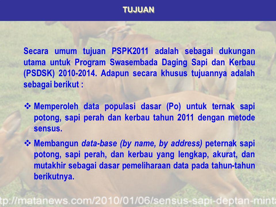 CAKUPAN DAN METODOLOGI Responden PSPK2011 mencakup rumah tangga/ perusahaan berbadan hukum/ lainnya (RPH, Asrama, Pesantren, dll) yang memelihara ternak sapi potong, sapi perah, dan atau kerbau di seluruh wilayah Indonesia.