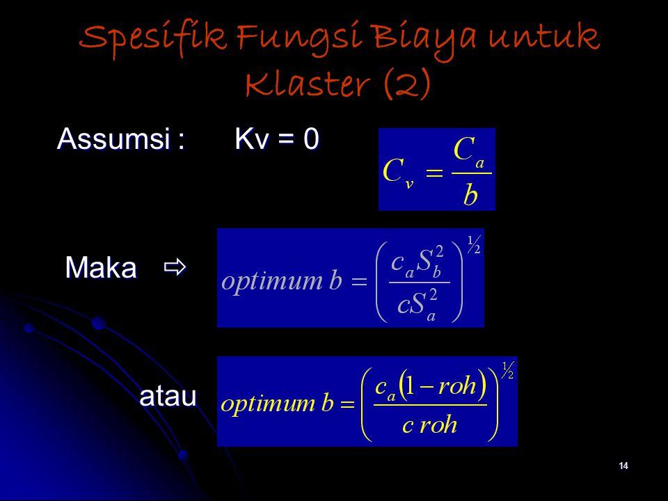 14 Spesifik Fungsi Biaya untuk Klaster (2) Assumsi : Kv = 0 Assumsi : Kv = 0 Maka  Maka  atau atau
