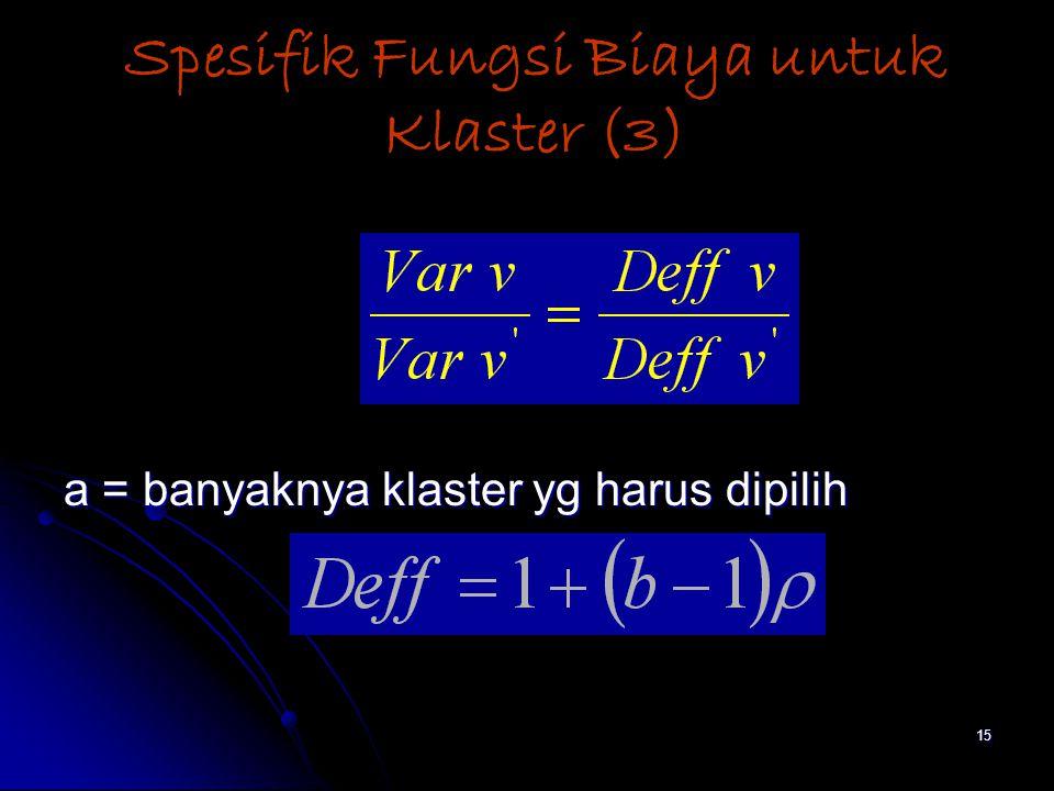 15 Spesifik Fungsi Biaya untuk Klaster (3) a = banyaknya klaster yg harus dipilih