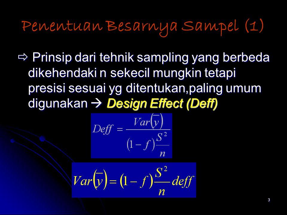 3 Penentuan Besarnya Sampel (1)  Prinsip dari tehnik sampling yang berbeda dikehendaki n sekecil mungkin tetapi presisi sesuai yg ditentukan,paling umum digunakan  Design Effect (Deff)