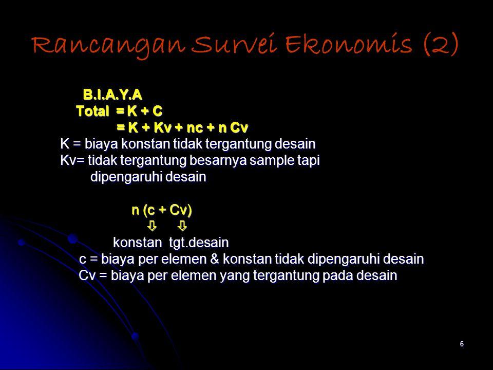 6 Rancangan Survei Ekonomis (2) B.I.A.Y.A B.I.A.Y.A Total = K + C Total = K + C = K + Kv + nc + n Cv = K + Kv + nc + n Cv K = biaya konstan tidak tergantung desain K = biaya konstan tidak tergantung desain Kv= tidak tergantung besarnya sample tapi Kv= tidak tergantung besarnya sample tapi dipengaruhi desain dipengaruhi desain n (c + Cv) n (c + Cv)     konstan tgt.desain konstan tgt.desain c = biaya per elemen & konstan tidak dipengaruhi desain c = biaya per elemen & konstan tidak dipengaruhi desain Cv = biaya per elemen yang tergantung pada desain Cv = biaya per elemen yang tergantung pada desain