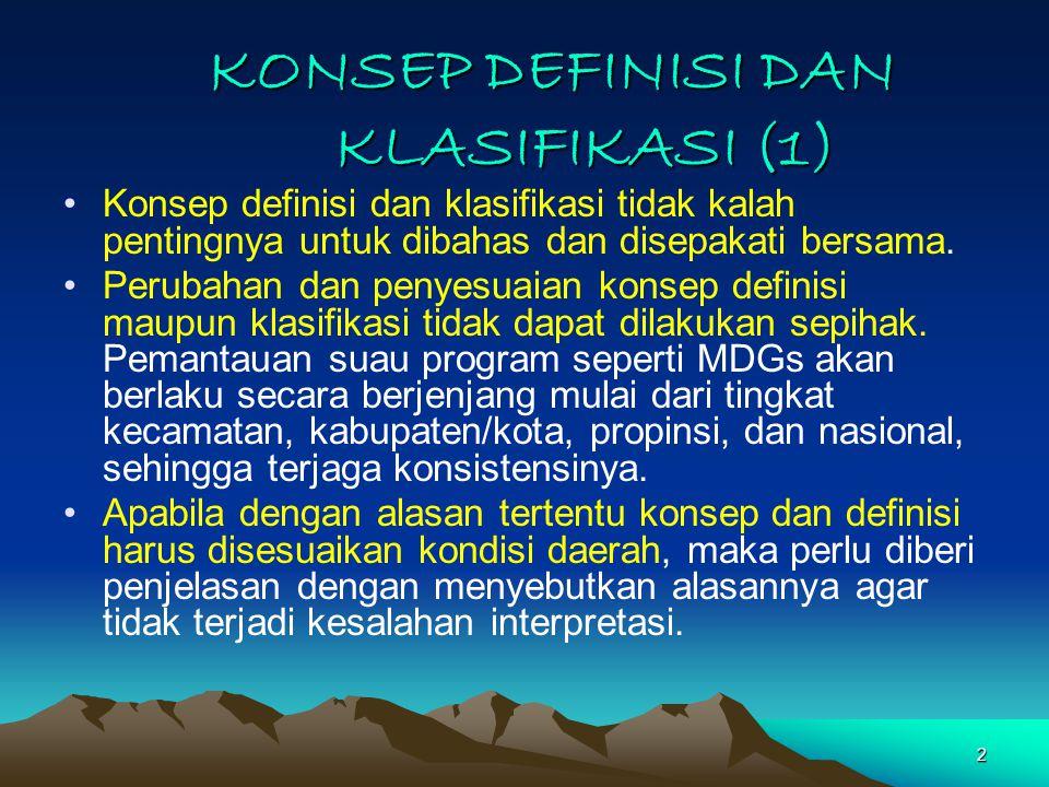 2 KONSEP DEFINISI DAN KLASIFIKASI (1) Konsep definisi dan klasifikasi tidak kalah pentingnya untuk dibahas dan disepakati bersama.