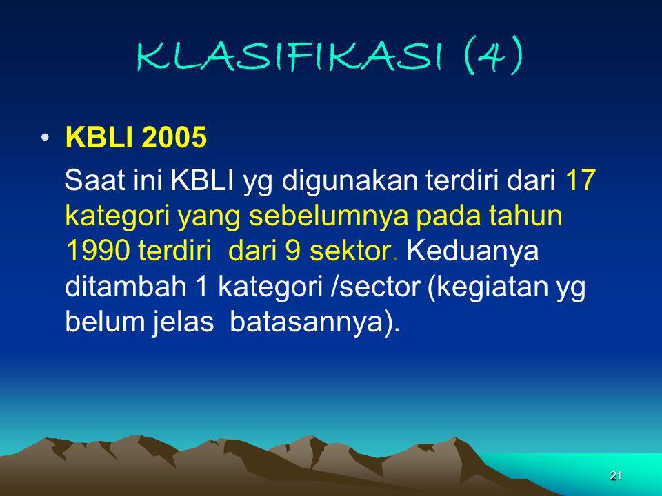 21 KLASIFIKASI (4) KBLI 2005 Saat ini KBLI yg digunakan terdiri dari 17 kategori yang sebelumnya pada tahun 1990 terdiri dari 9 sektor.