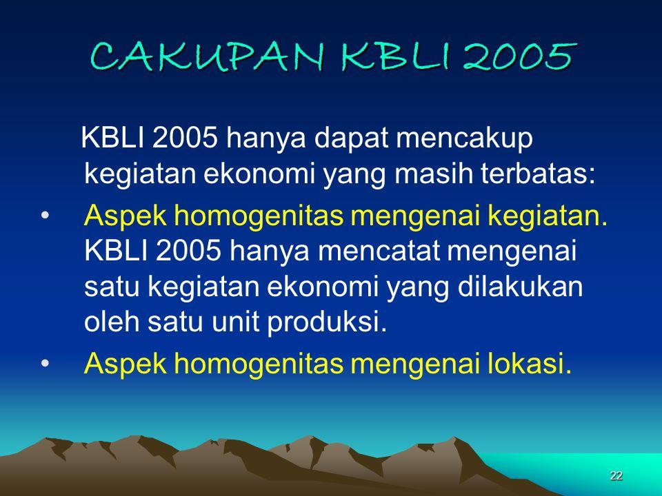 22 CAKUPAN KBLI 2005 KBLI 2005 hanya dapat mencakup kegiatan ekonomi yang masih terbatas: Aspek homogenitas mengenai kegiatan.