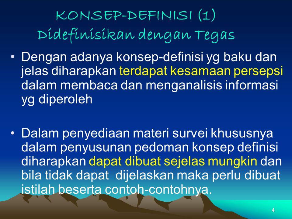 15 KONSEP DEFINISI (7) Anggota rumahtangga (art), adalah semua orang yang tergabung dalam satu kesatuan rt baik dalam satu tempat tinggal maupun tidak pada saat pencacahan.