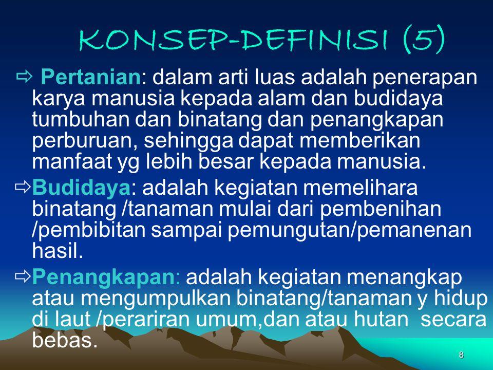 8 KONSEP-DEFINISI (5)  Pertanian: dalam arti luas adalah penerapan karya manusia kepada alam dan budidaya tumbuhan dan binatang dan penangkapan perburuan, sehingga dapat memberikan manfaat yg lebih besar kepada manusia.