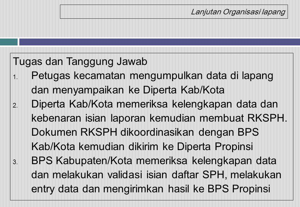 Lanjutan Organisasi lapang Tugas dan Tanggung Jawab 1. Petugas kecamatan mengumpulkan data di lapang dan menyampaikan ke Diperta Kab/Kota 2. Diperta K