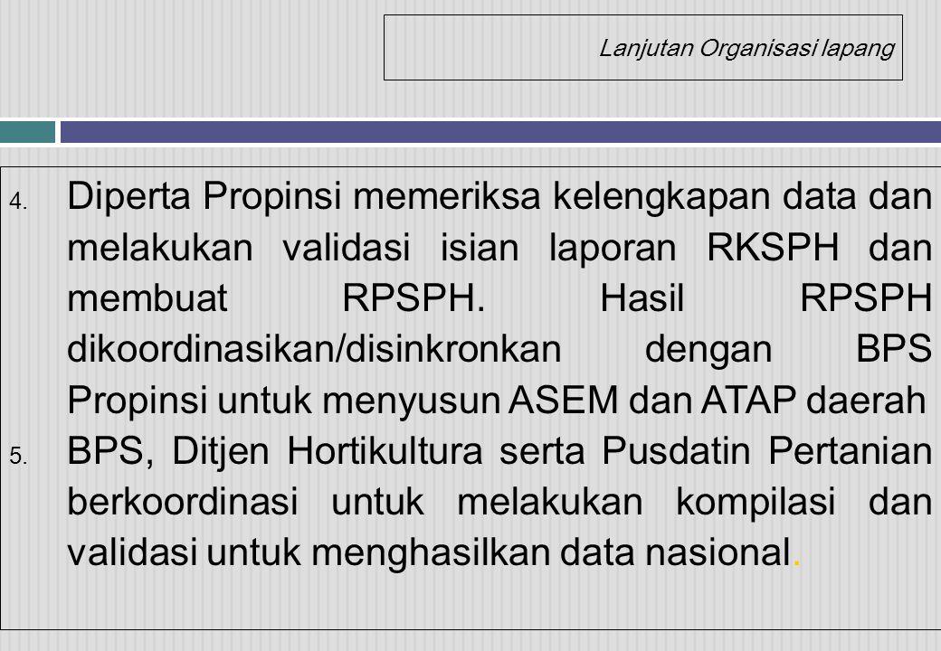 Lanjutan Organisasi lapang 4. Diperta Propinsi memeriksa kelengkapan data dan melakukan validasi isian laporan RKSPH dan membuat RPSPH. Hasil RPSPH di