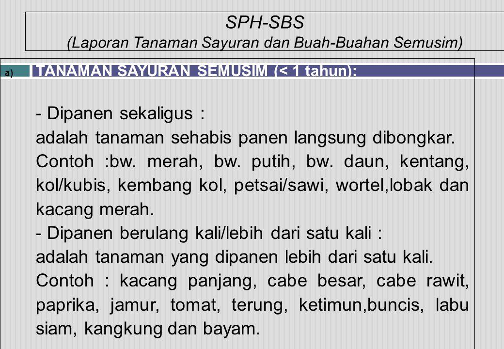 SPH-SBS (Laporan Tanaman Sayuran dan Buah-Buahan Semusim) a) TANAMAN SAYURAN SEMUSIM (< 1 tahun): - Dipanen sekaligus : adalah tanaman sehabis panen l