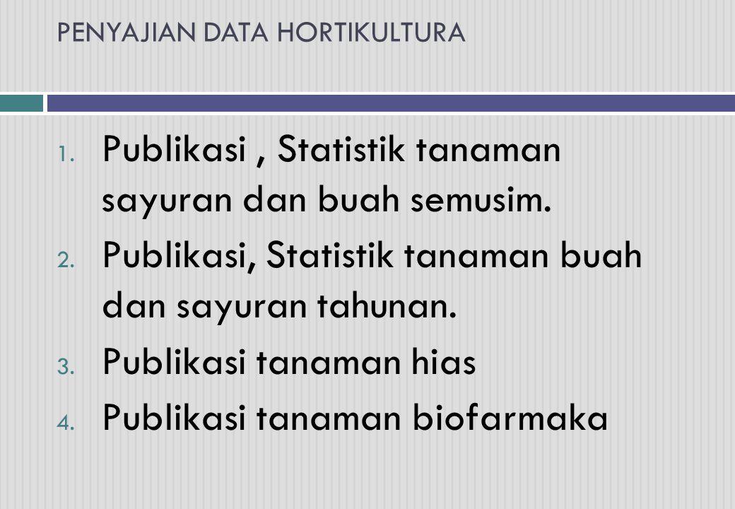 1. Publikasi, Statistik tanaman sayuran dan buah semusim. 2. Publikasi, Statistik tanaman buah dan sayuran tahunan. 3. Publikasi tanaman hias 4. Publi