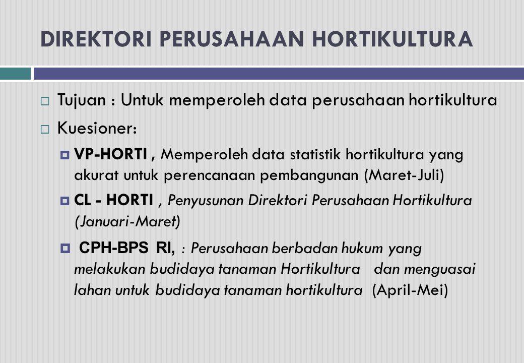 DIREKTORI PERUSAHAAN HORTIKULTURA  Tujuan : Untuk memperoleh data perusahaan hortikultura  Kuesioner:  VP-HORTI, Memperoleh data statistik hortikul
