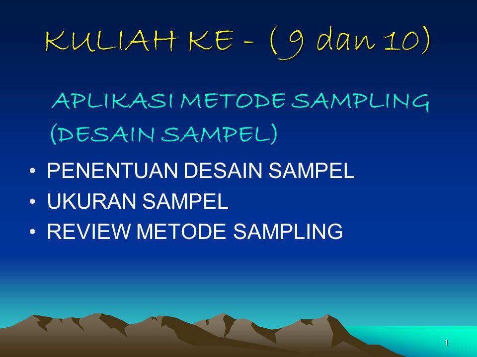 1 KULIAH KE - ( 9 dan 10) APLIKASI METODE SAMPLING (DESAIN SAMPEL) PENENTUAN DESAIN SAMPEL UKURAN SAMPEL REVIEW METODE SAMPLING