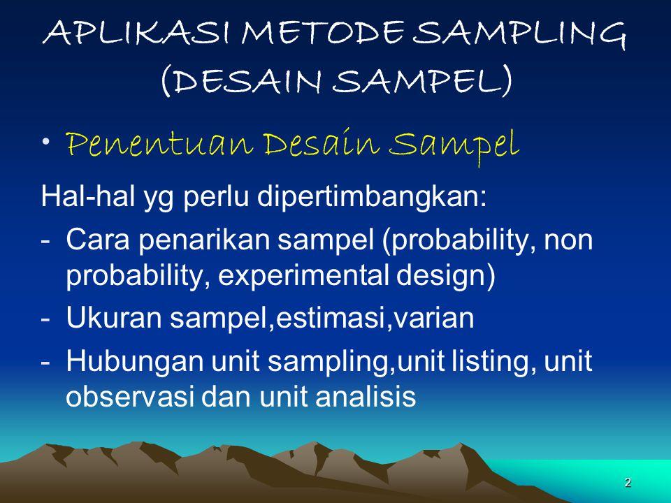 23  Aplikasi Teknik Sampling(1) Mendasarkan kepada obyek dan tujuan Kerangka sampel tersedia Estimasi sesuai level (domain) penyajian ( Rata-rata, total, Proporsi – Rasio) Varian/ Standard error dan selang kepercayaan
