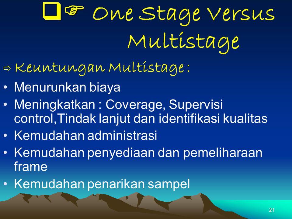 21   One Stage Versus Multistage  Keuntungan Multistage : Menurunkan biaya Meningkatkan : Coverage, Supervisi control,Tindak lanjut dan identifik
