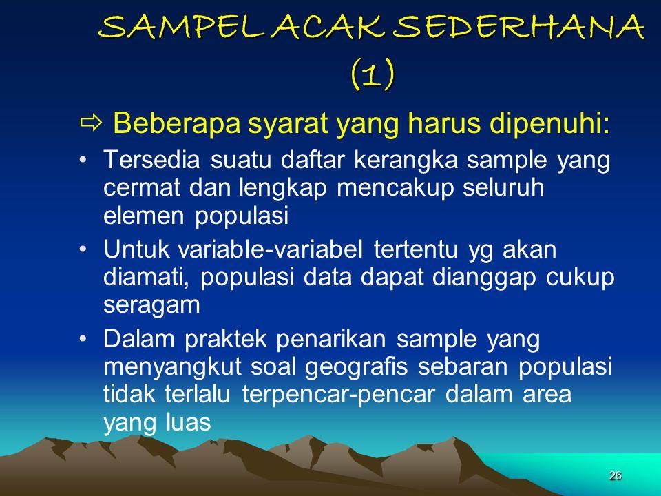 26 SAMPEL ACAK SEDERHANA (1)  Beberapa syarat yang harus dipenuhi: Tersedia suatu daftar kerangka sample yang cermat dan lengkap mencakup seluruh ele