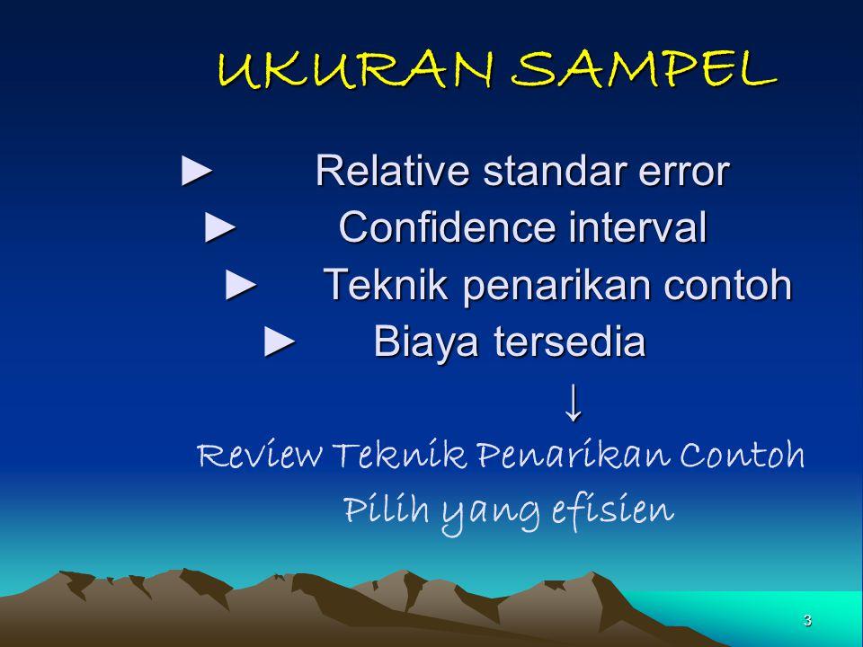 3 UKURAN SAMPEL UKURAN SAMPEL ► Relative standar error ► Confidence interval ► Teknik penarikan contoh ► Teknik penarikan contoh ► Biaya tersedia ↓ Re