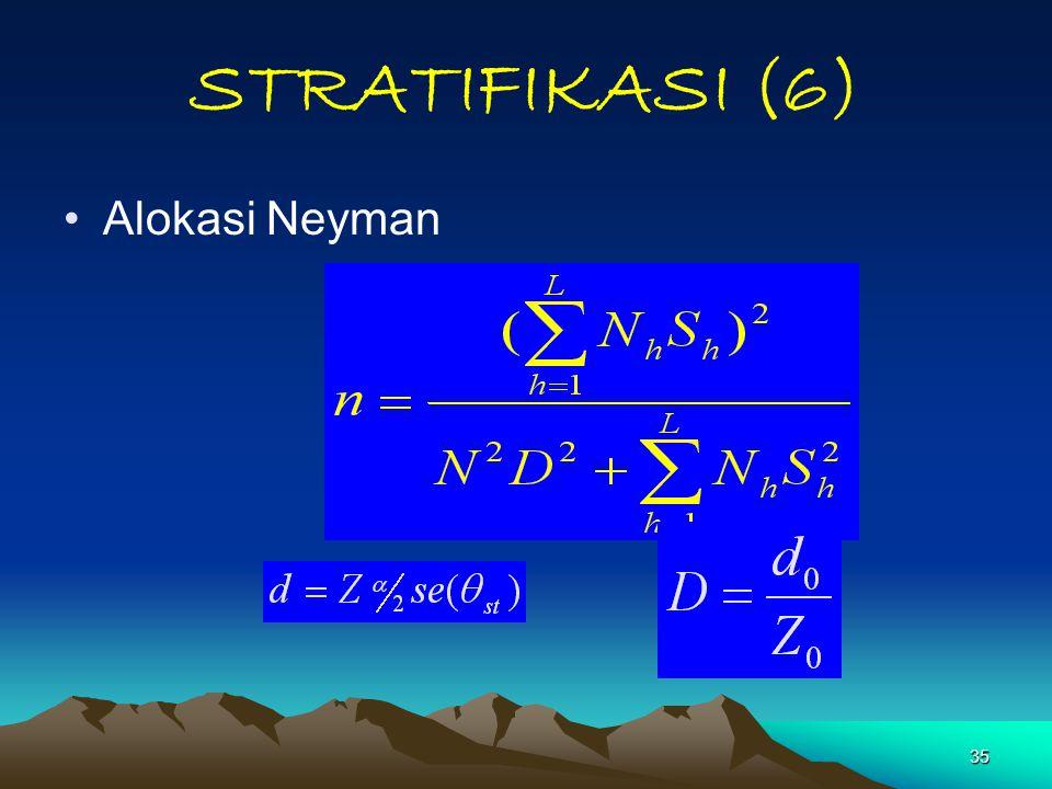 35 STRATIFIKASI (6) Alokasi Neyman