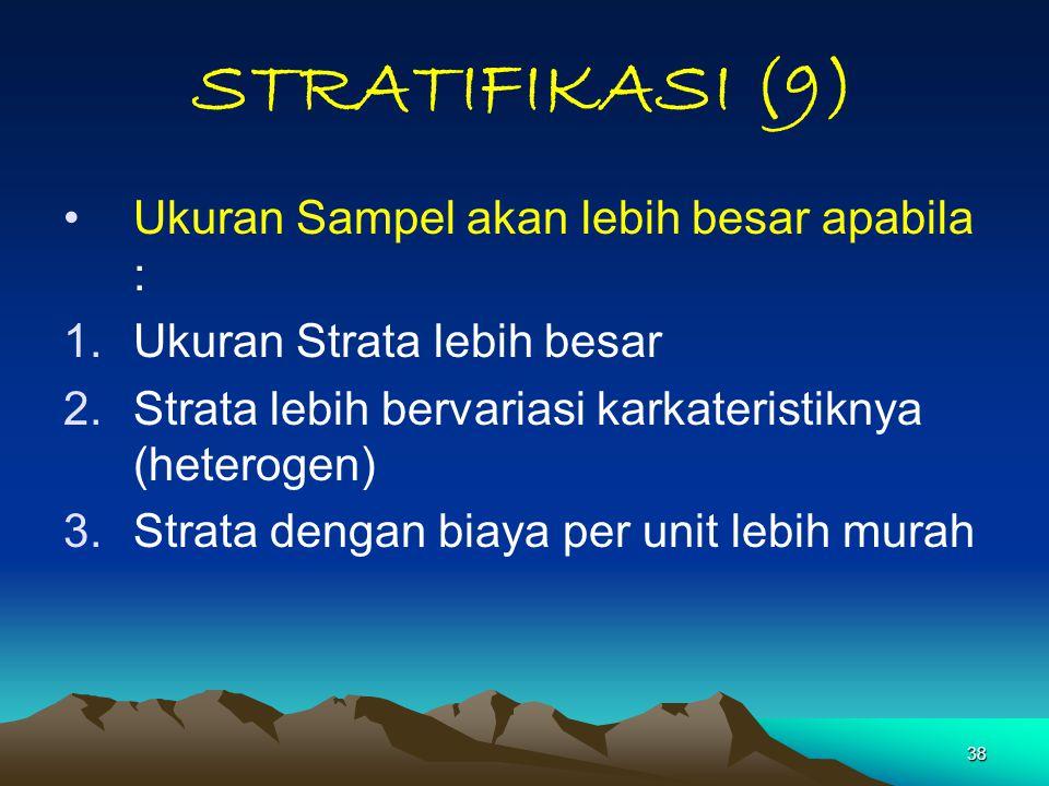 38 STRATIFIKASI (9) Ukuran Sampel akan lebih besar apabila : 1.Ukuran Strata lebih besar 2.Strata lebih bervariasi karkateristiknya (heterogen) 3.Stra