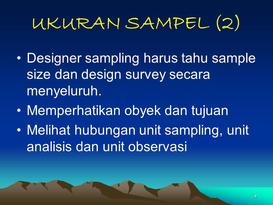 4 UKURAN SAMPEL (2) Designer sampling harus tahu sample size dan design survey secara menyeluruh. Memperhatikan obyek dan tujuan Melihat hubungan unit