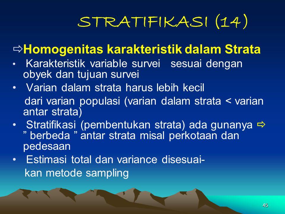 45 STRATIFIKASI (14)  Homogenitas karakteristik dalam Strata Karakteristik variable survei sesuai dengan obyek dan tujuan survei Varian dalam strata