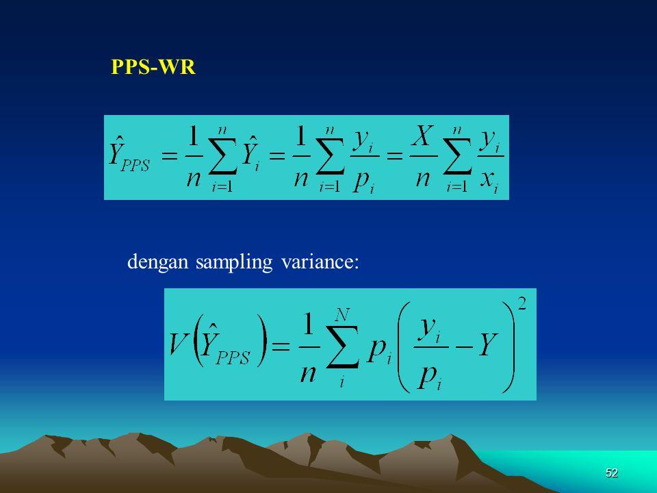 52 PPS-WR dengan sampling variance: