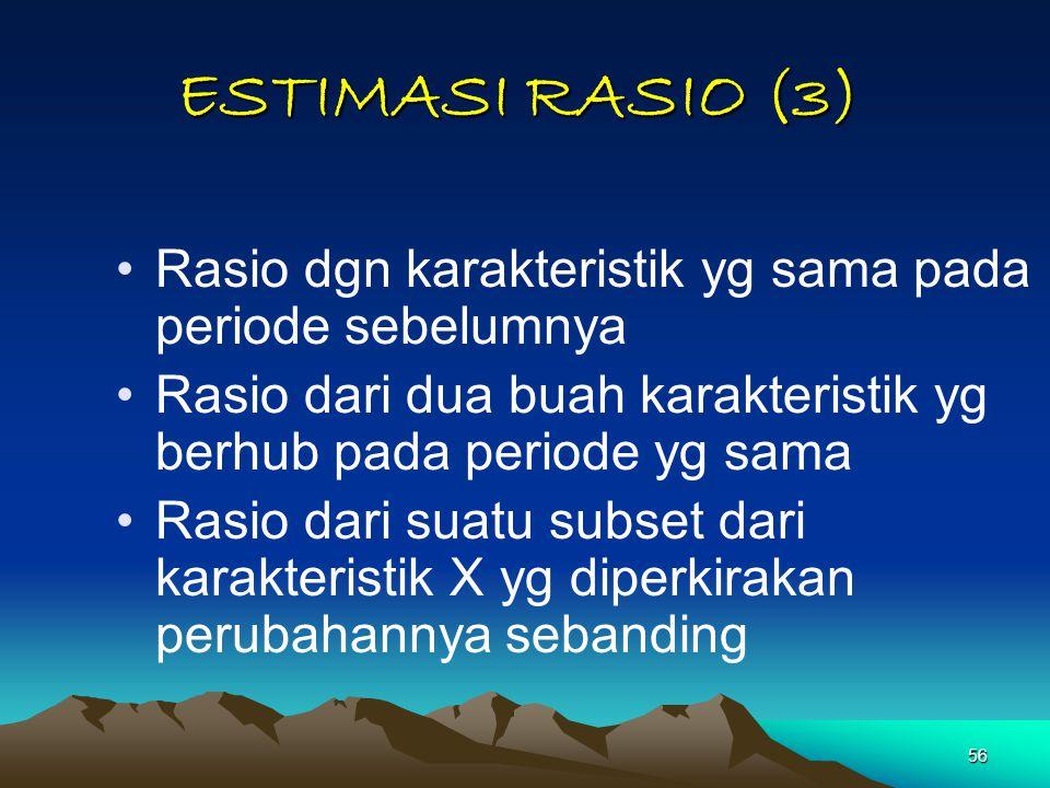 56 Rasio dgn karakteristik yg sama pada periode sebelumnya Rasio dari dua buah karakteristik yg berhub pada periode yg sama Rasio dari suatu subset da