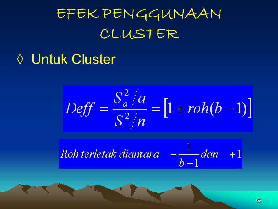 62 EFEK PENGGUNAAN CLUSTER ◊ Untuk Cluster