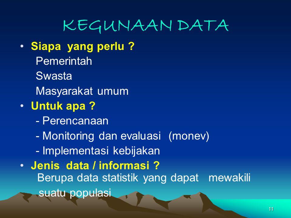 11 KEGUNAAN DATA Siapa yang perlu .Pemerintah Swasta Masyarakat umum Untuk apa .