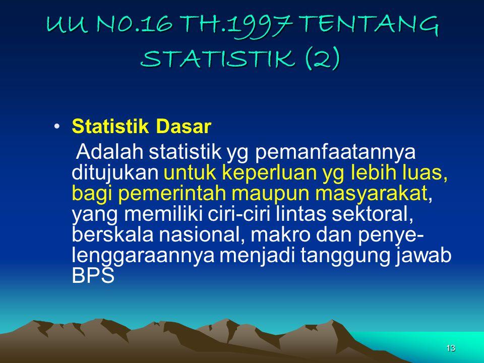 13 UU N0.16 TH.1997 TENTANG STATISTIK (2) Statistik Dasar Adalah statistik yg pemanfaatannya ditujukan untuk keperluan yg lebih luas, bagi pemerintah maupun masyarakat, yang memiliki ciri-ciri lintas sektoral, berskala nasional, makro dan penye- lenggaraannya menjadi tanggung jawab BPS