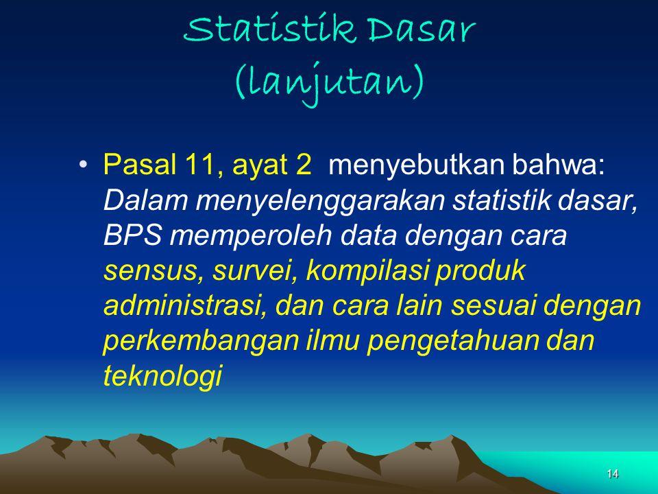14 Statistik Dasar (lanjutan) Pasal 11, ayat 2 menyebutkan bahwa: Dalam menyelenggarakan statistik dasar, BPS memperoleh data dengan cara sensus, survei, kompilasi produk administrasi, dan cara lain sesuai dengan perkembangan ilmu pengetahuan dan teknologi