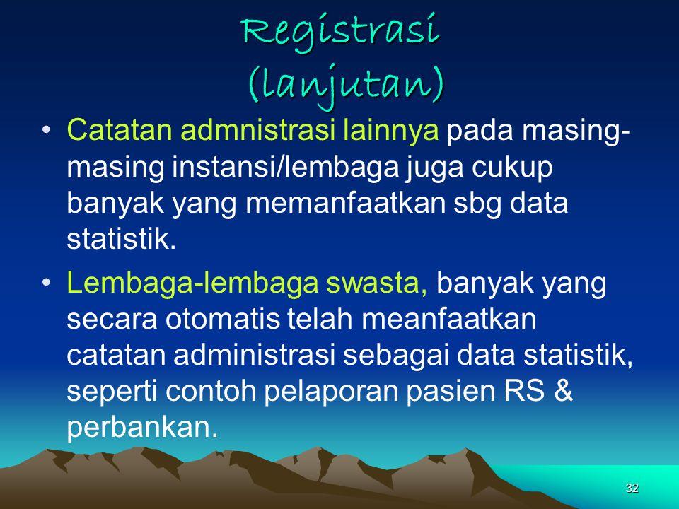32 Registrasi (lanjutan) Catatan admnistrasi lainnya pada masing- masing instansi/lembaga juga cukup banyak yang memanfaatkan sbg data statistik.