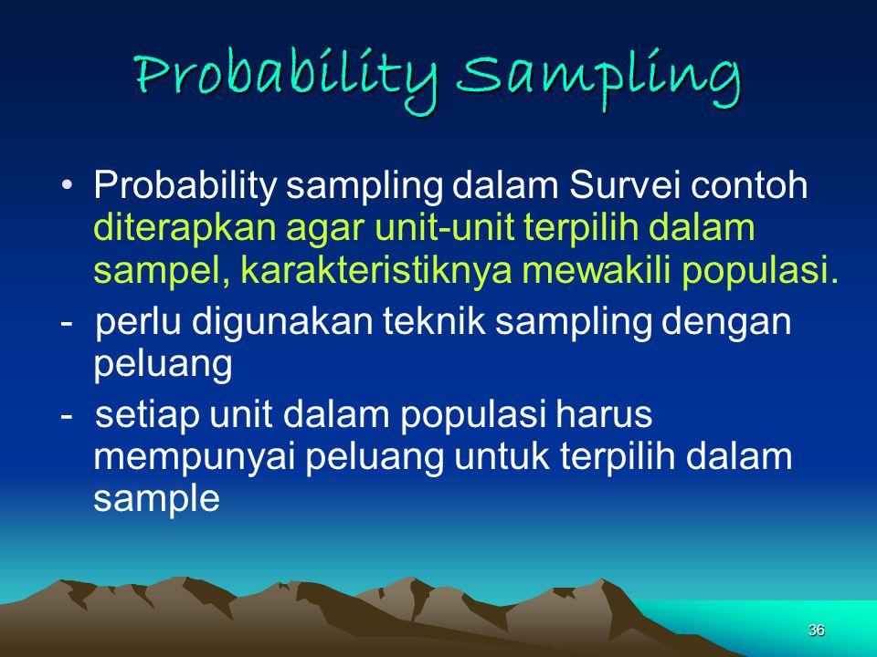 36 Probability Sampling Probability sampling dalam Survei contoh diterapkan agar unit-unit terpilih dalam sampel, karakteristiknya mewakili populasi.