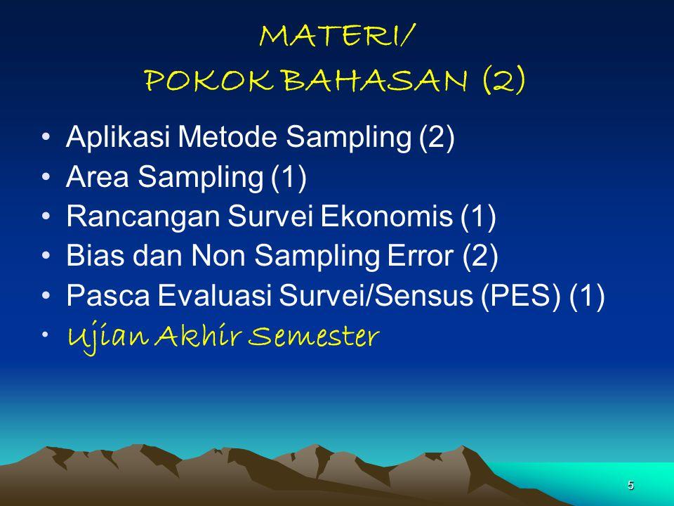 5 MATERI/ POKOK BAHASAN (2) Aplikasi Metode Sampling (2) Area Sampling (1) Rancangan Survei Ekonomis (1) Bias dan Non Sampling Error (2) Pasca Evaluasi Survei/Sensus (PES) (1) Ujian Akhir Semester