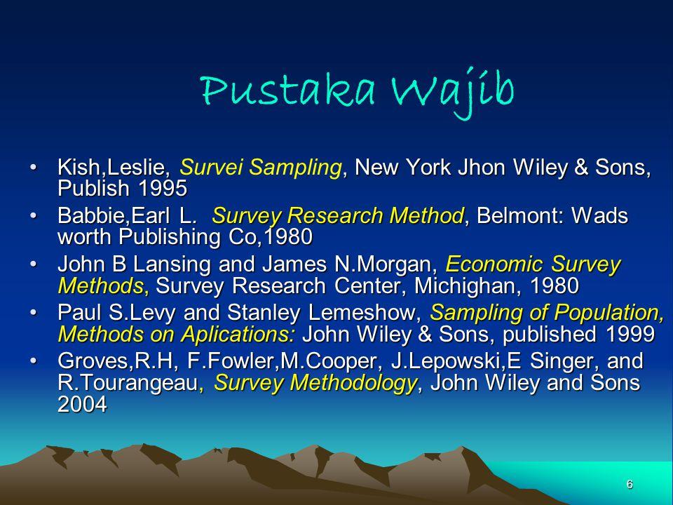 6 Pustaka Wajib Kish,Leslie,, New York Jhon Wiley & Sons, Publish 1995Kish,Leslie, Survei Sampling, New York Jhon Wiley & Sons, Publish 1995 Babbie,Earl L.