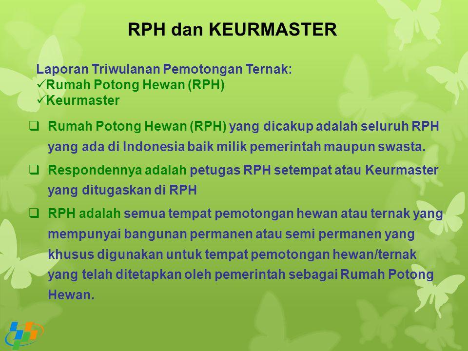RPH dan KEURMASTER Laporan Triwulanan Pemotongan Ternak: Rumah Potong Hewan (RPH) Keurmaster  Rumah Potong Hewan (RPH) yang dicakup adalah seluruh RP