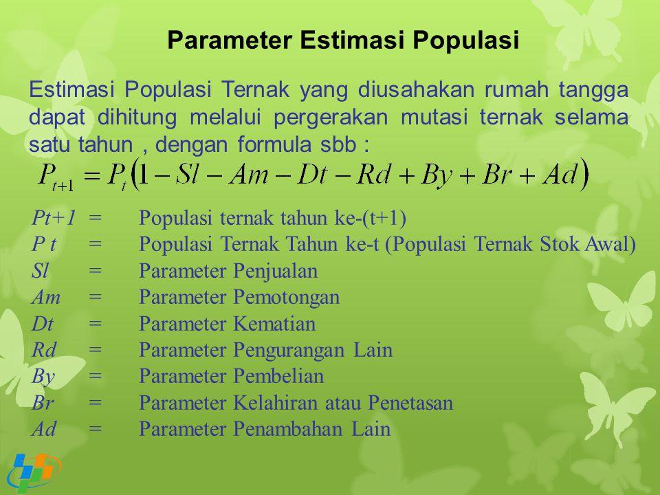 Parameter Estimasi Populasi Estimasi Populasi Ternak yang diusahakan rumah tangga dapat dihitung melalui pergerakan mutasi ternak selama satu tahun, d