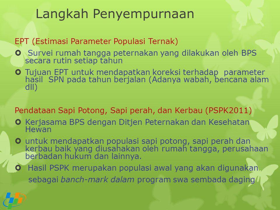 Langkah Penyempurnaan EPT (Estimasi Parameter Populasi Ternak)  Survei rumah tangga peternakan yang dilakukan oleh BPS secara rutin setiap tahun  Tu