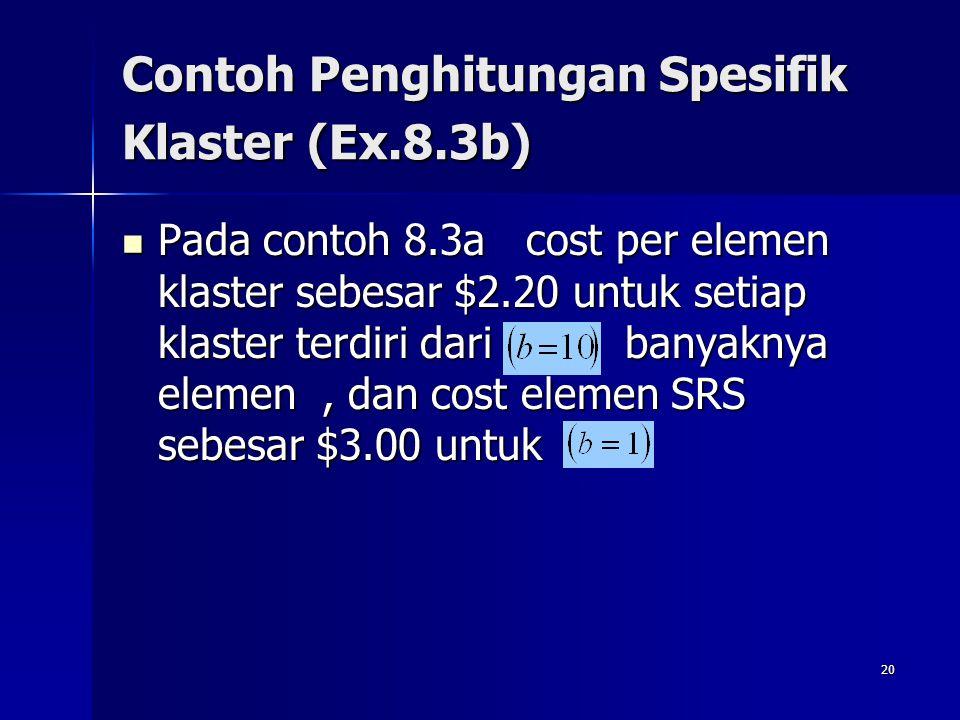 20 Contoh Penghitungan Spesifik Klaster (Ex.8.3b) Pada contoh 8.3a cost per elemen klaster sebesar $2.20 untuk setiap klaster terdiri dari banyaknya e